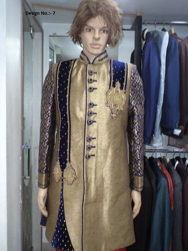 Wedding Golden And Blue Designer Sherwani, Rs 11000 /piece Pooja .