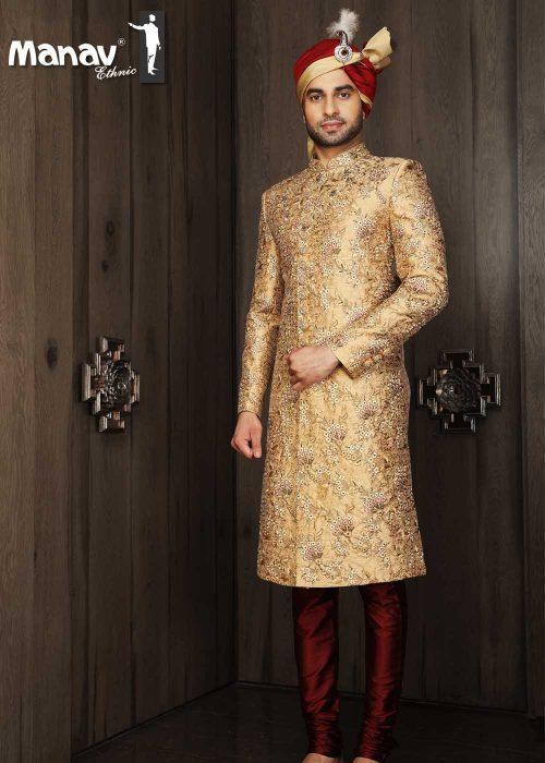 Pure Silk Golden Sherwani - Manav Ethn