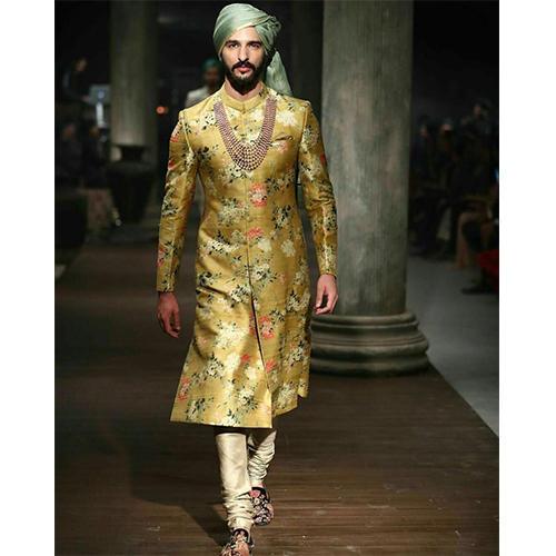 ETHNIC WORLD YELLOW Golden Floral Design Sherwani, Rs 6400 /piece .
