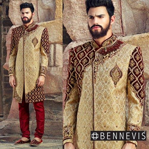 Golden Wedding Wear Gold Jamawar Designer Indowestern Sherwani, Rs .