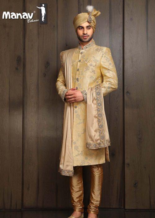Golden Butta Printed Side-cut Designer Sherwani - Manav Ethn