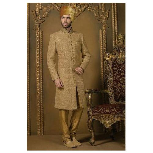 Medium And XL Golden Mens Designer Wedding Groom Sherwani, Rs 8200 .