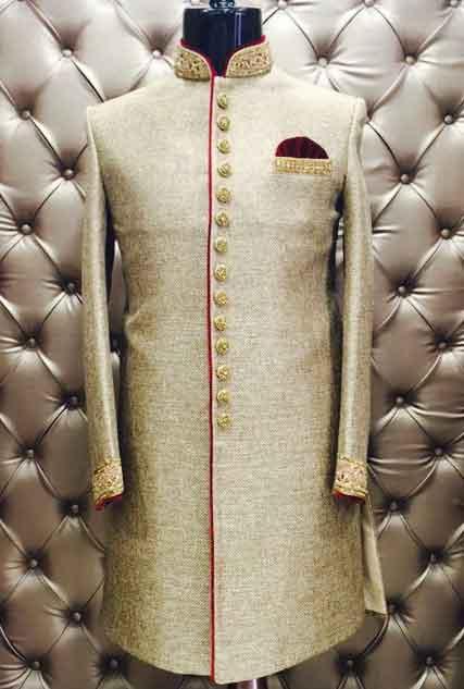 Silver golden designer sherwani, Mens - Kurta, Sherwani-Shopping Dea