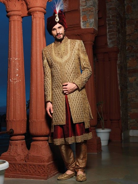Golden Sherwani Designs