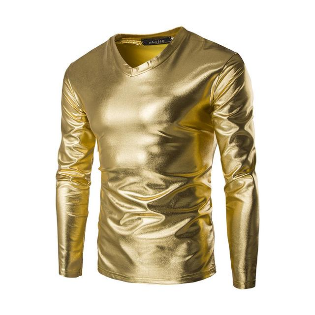 New Trend Metallic Golden T Shirt Men 2018 Night Club Fashion Mens .