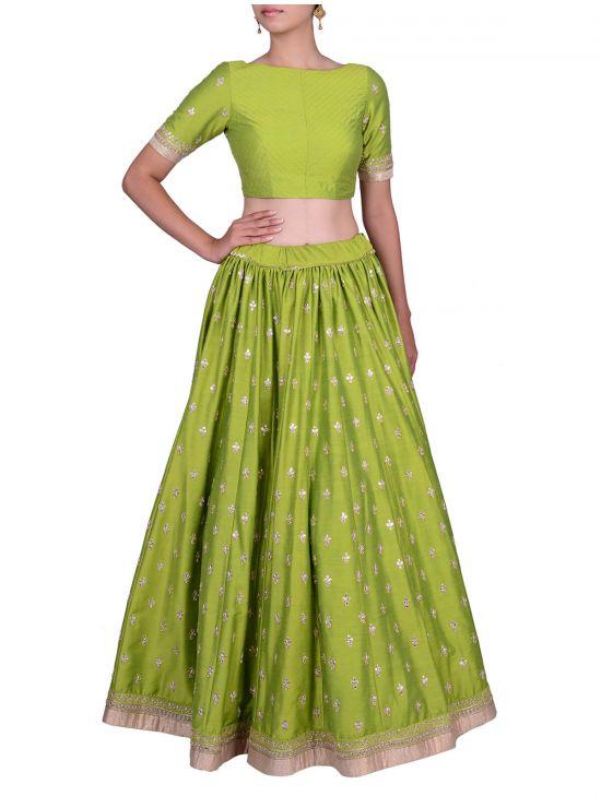 Niya Dholu - Green Kalidaar Gota Patti Lehenga and Blouse Set .