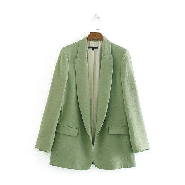 Women's Jacket Plus Size Pink Blue Green Blazer Feminino Office .