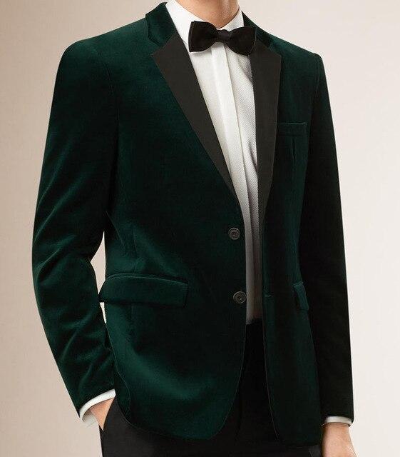 Mens Velvet Blazers suits Custom Made Slim Fit Dark Green Velvet .