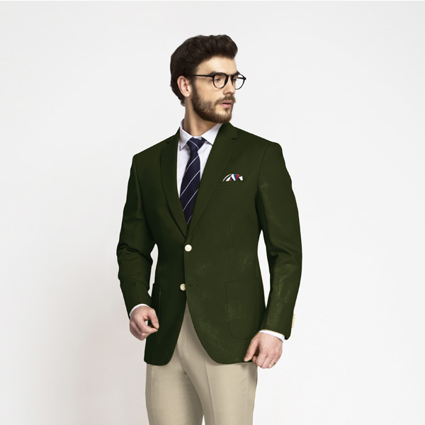 Olive Green Cotton Blazer | Custom Made by A.