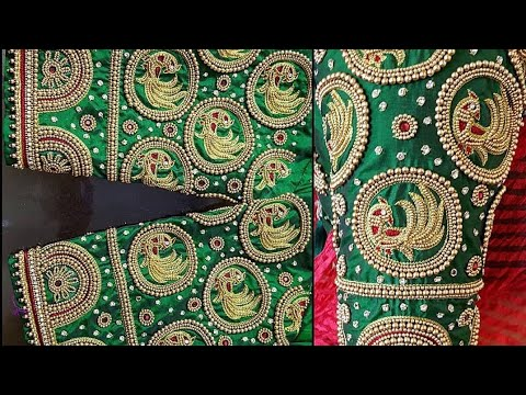 Green color Maggam work blouse designs || Bridal work blouse .