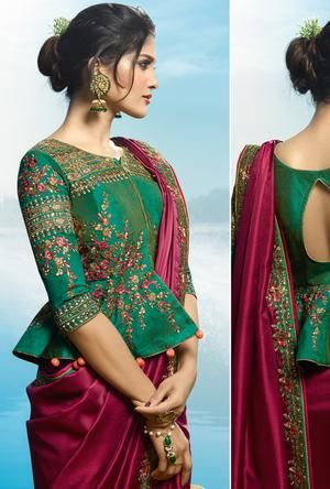 Maroon and Green Saree | Long blouse designs, Saree blouse designs .