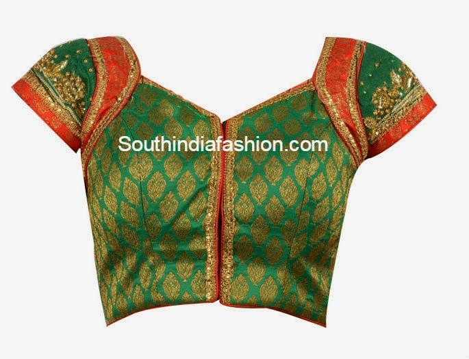 Green and Red Readymade Brocade Blouse – South India Fashi