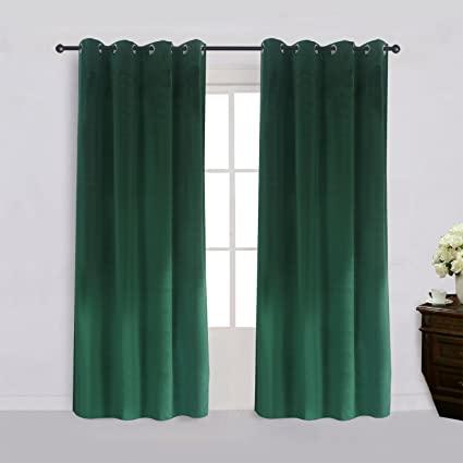 Amazon.com: Super Soft Signature Velvet Curtains Set of 2 Dark .