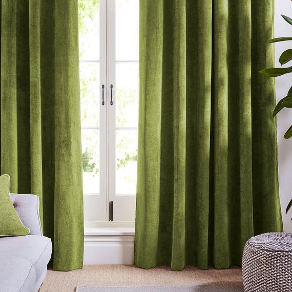 Olive Light Green Curtains Velvet Drapes Custom Drape Home | Et