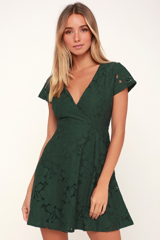 Black Swan Tia - Green Dress - Lace Dress - Lace Skater Dre
