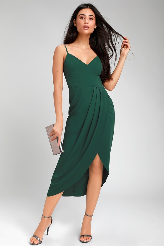 Chic Dark Green Dress - Midi Dress - High-Low Dress - Wrap Dre