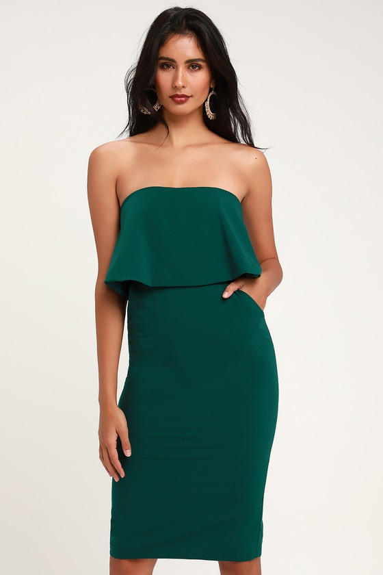 Cute Green Dress - Green Strapless Dress - Green Midi Dre