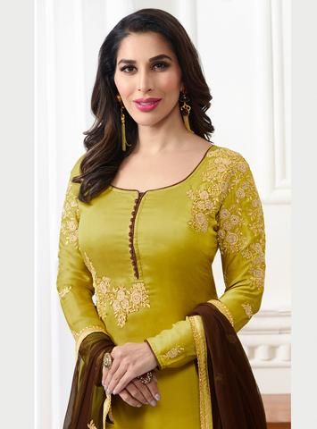 Lemon Green Satin Embroidered Latest Design Salwar Kameez .