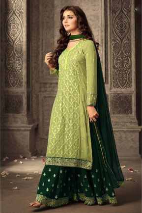 Faux Georgette Palazzo Suit In Light Green Colour | Party wear .
