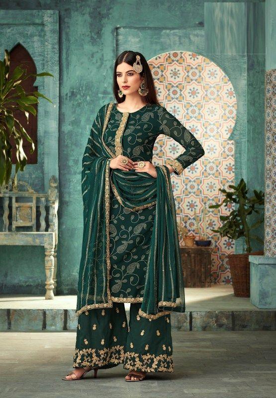 Dark Green Foil Print Plazo Salwar Suit With Chiffon Dupatta (With .