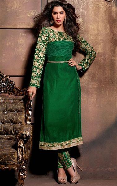 Contemporary Bottle Green Color Wedding Salwar Kameez | Party wear .