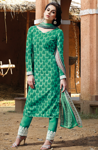 Green Floral Cotton Silk Unstitched Designer Salwar Kameez .