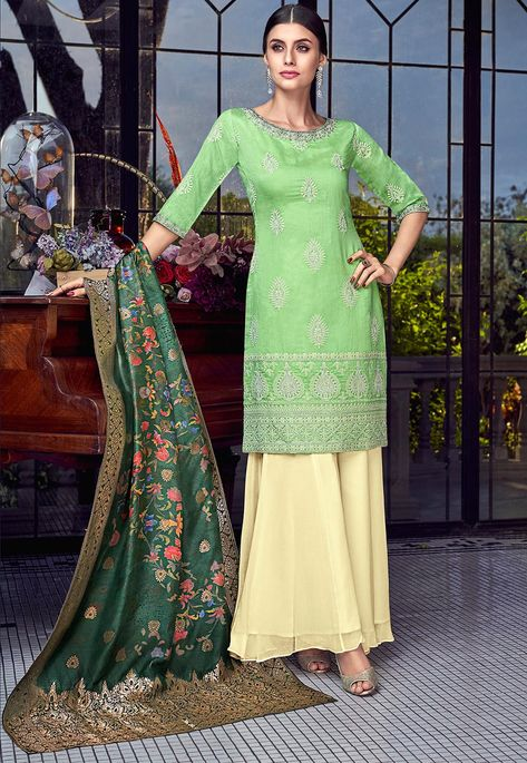 embroidered art silk pakistani suit in light green#Salwar #Kameez .