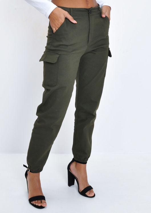 High Waisted Utility Cargo Joggers Trousers Khaki Green | Lily Lu