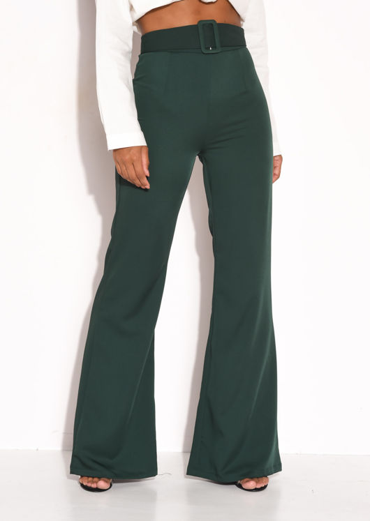 Belted Satin High Waisted Flared Trousers Green | Lily Lu