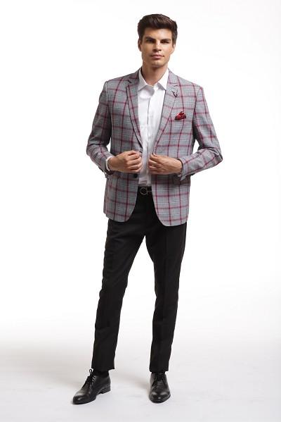 Elie Balleh Grey Plaid Men's Blazers - Sports Coat Jack