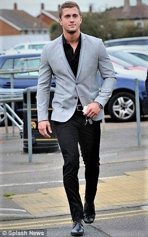 Black shirt and pants with a touch of the light gray blazer. (With .