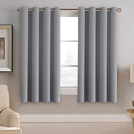 Amazon.com: H.VERSAILTEX Blackout Grey Curtains 63 Inch Length .