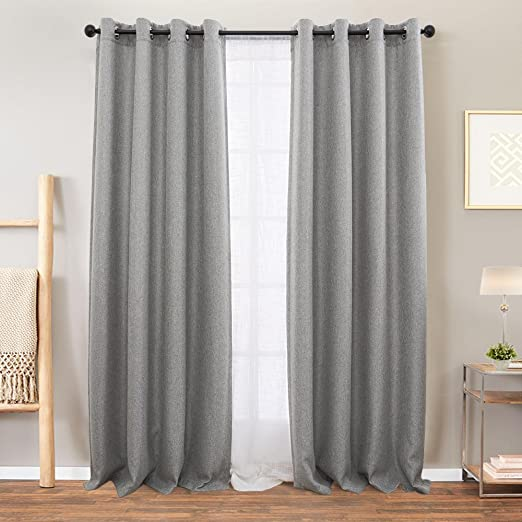 Amazon.com: Vangao Grey Linen Textured Curtains for Bedroom 84 .
