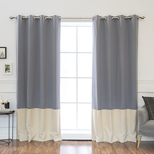 Beige/grey Curtains: Amazon.c