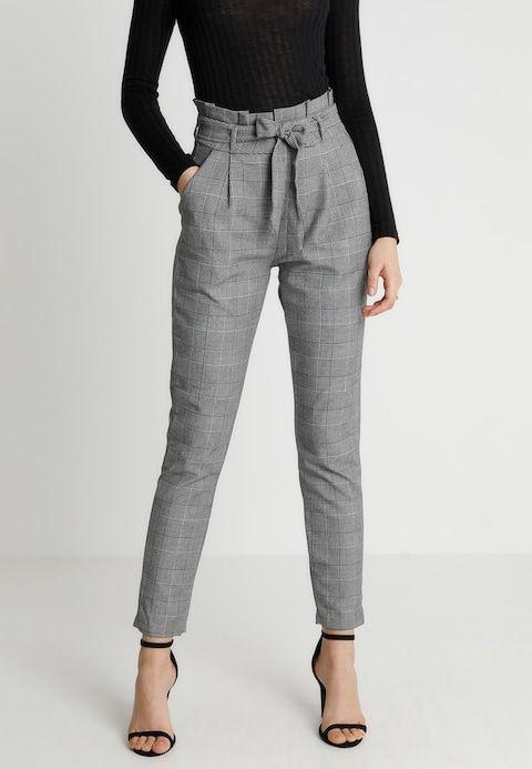 VMEVA PAPERBAG CHECK PANT - Trousers - grey/white @ Zalando.co.uk .