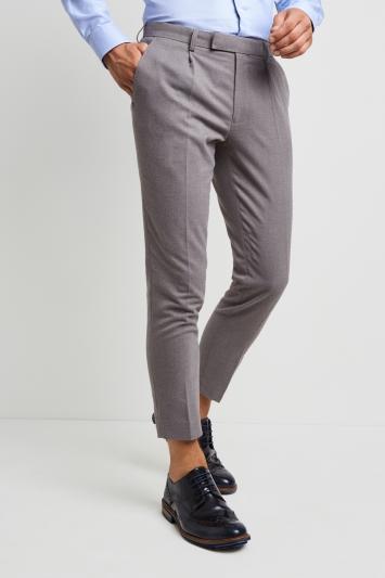 Moss London Slim Fit Light Grey Flannel Single Pleat Front Cropped .
