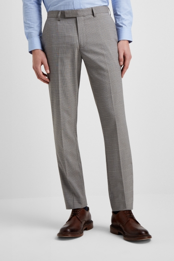 Moss London Slim Fit Grey Prince Of Wales Check Pan