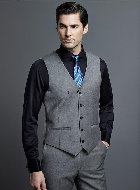 Hot Selling Grey Business Mens Vest Best Man Vest Custom Made .