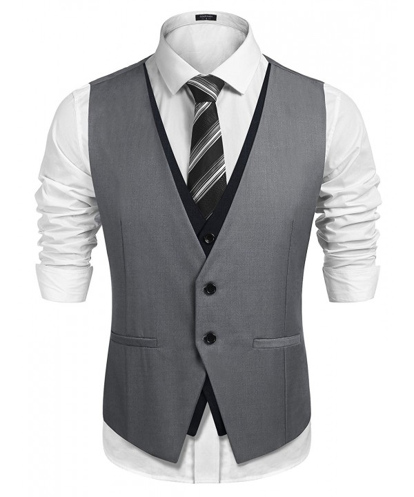 Men's Slim Fit Vest Layering Formal Business Wedding Waistcoat .