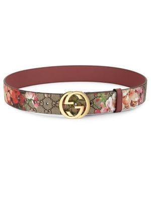 Gucci - Floral Logo Print Belt - saks.c