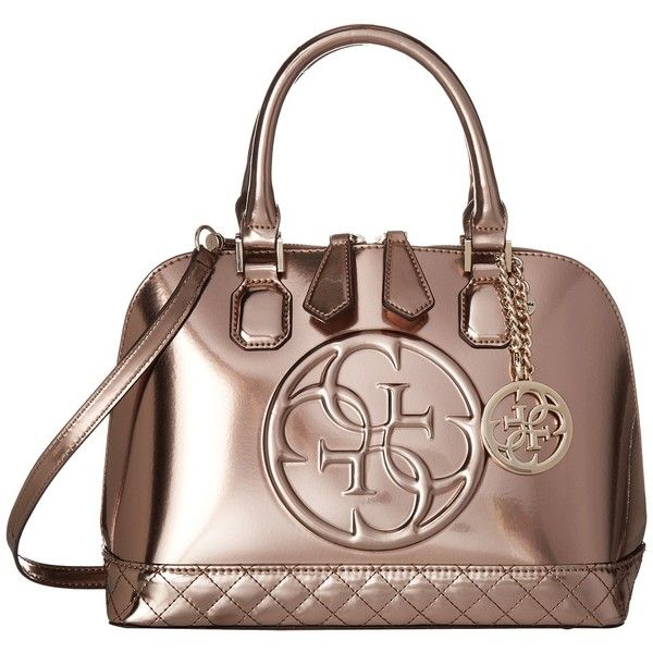 GUESS Korry Small Dome Satchel (Champagne) Satchel Handbags (915 .