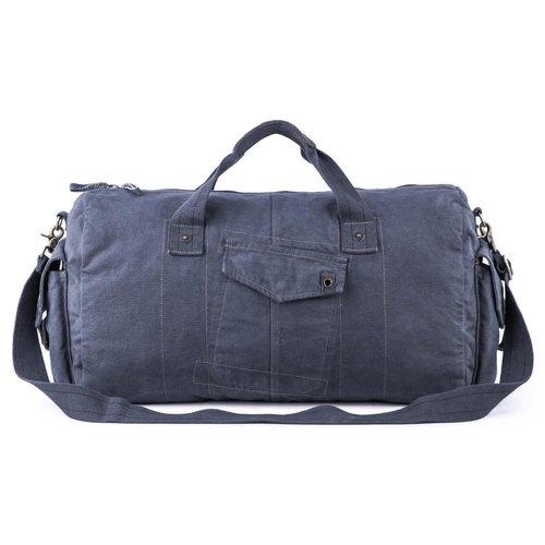 Navy Blue Cotton Canvas Canvas Leather Duffel Travel Gym Bag .