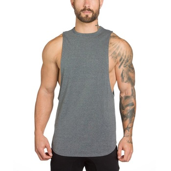 Cotton Spandex Breathable Mens Gym Vest With Custom Logo Mens Tank .