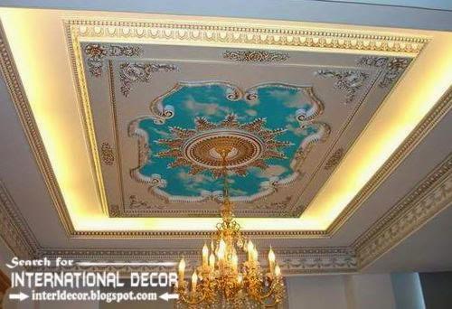 Luxury gypsum ceiling designs, lights for classic interior .