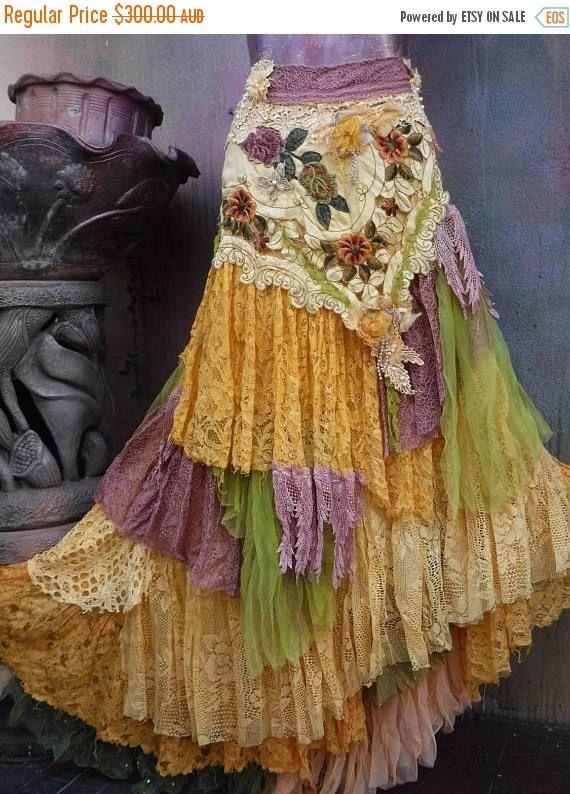 Wedding skirt,tattered skirt, mori girl, stevie nicks, bohemian .