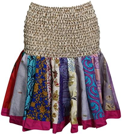 Amazon.com: Women's Mini Skirt Silk Flirty Skater Ruched Flowy .