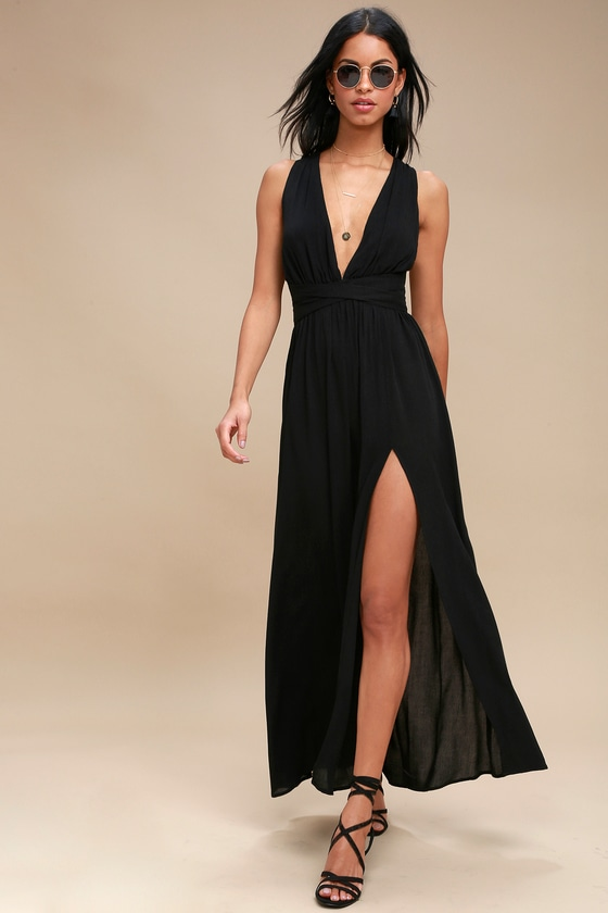 Lovely Black Dress - Halter Dress - Maxi Dress - Halter Ma