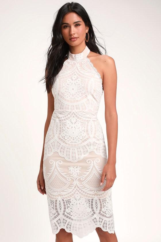 Lovely White Dress - Halter Dress - Lace Dress - Midi Dre