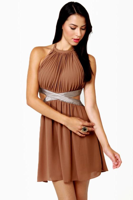 Sexy Halter Dress - Brown Dress - Backless Dress - $66.
