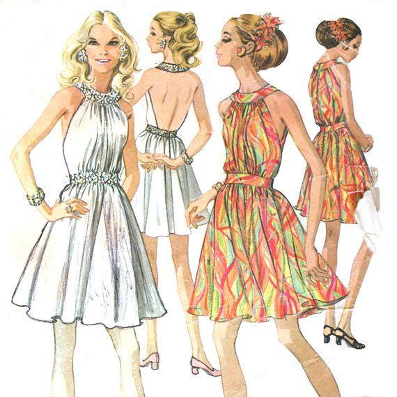 1960s Backless Halter Dress Pattern | Halter dress pattern .